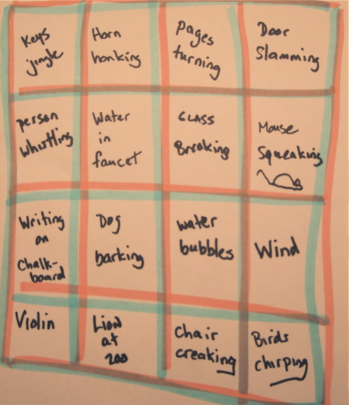 Sound Effect Bingo Card